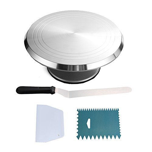 Aluminum Decorating Comb (Round Cake Revolving Turnable 12''Stand With Icing Spatula & Decorating Comb | Non Slip Rubber Base, Durable Aluminum, Rotating & Locking Mechanism |For Birthdays, Wedding, Showers & More)