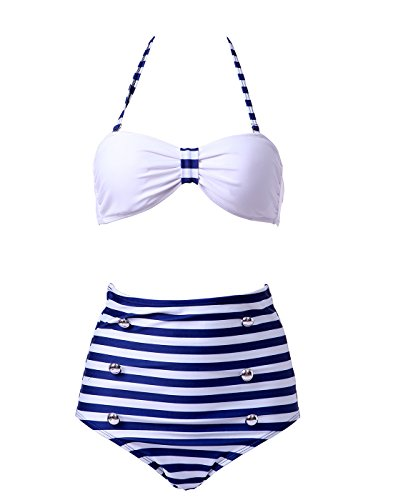 c449b8ba82be0 HDE Women s Retro Bikini High Waist Vintage Style Swimsuit 50 s Pinup  Bathing Suit - Buy Online in Oman.