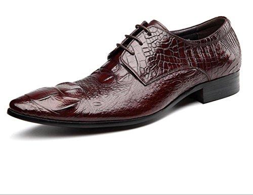 WZG los zapatos ocasionales de los nuevos hombres zapatos casuales zapatos de cuero puntiaguda patrón de cocodrilo zapatos de cuero de zapatos de la boda de negocios 9.5 wine red