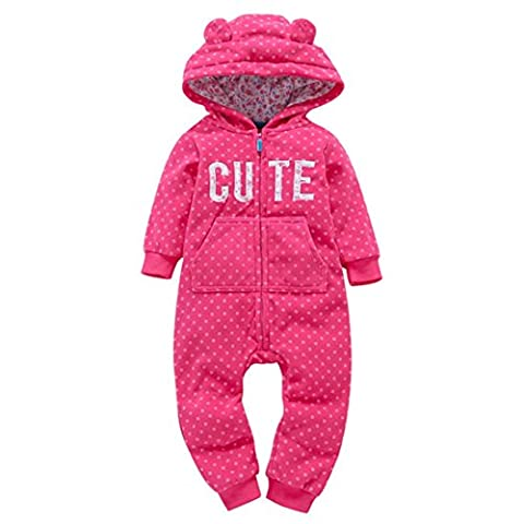 Peanutcool Infant Baby Boys Girls Thicker Dot Print Hooded Romper Jumpsuit Outfit Kid Clothes Toddler Coat Gift (6M, Hot - Jumpsuit Coat