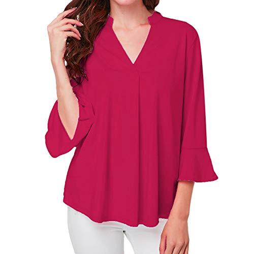 (HULKAY Womens Tops Sale Clearance Upgrade Stylish 3/4 Ruffle Sleeve V Neck Pure Color Loose Tee-Shirt Sweatshirt Blouses(Hot Pink,3XL))