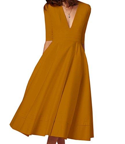 V Collo Cerimonia Cocktail Abito Giallo Donna Sera Swing da Vestiti Lunghi Vestito Midi Vintage Partito Elegante Arancione 5qSdBxwUx