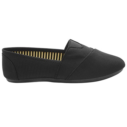 TravelNut Easter Sale Sarah Casual Slip On Fabric Flats For Women Girls by (Assorted Colors) Black pP0YPU