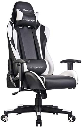 GTRACING Ergonomic Office Chair Racing Chair Backrest and Seat Height Adjustment Computer Chair with Pillows Recliner Swivel Rocker Tilt E-Sports Chair (002 White) GTRACING
