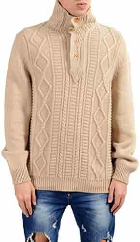 Kiton Napoli Men s 100% Cashmere Beige Cable Knit Pullover Sweater US 2XL  IT 56 e22bab9a53ac0