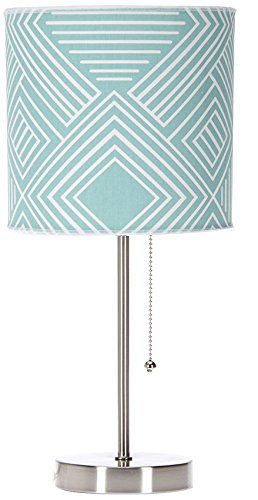 Buffalo Desk Lamp (Sweet Potato Soho Mod Table Lamp with Aqua Print Shade, 18