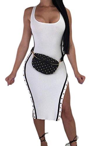 Club Neck Crew Dress Lounge Split White Fit Women Sexy Coolred Sleeveless OqI88A