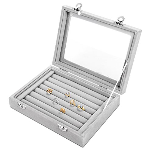 Pasutewel Earring Storage Case 7 Slots Ring Velvet Display Case Box Earring Ring Organizer Velvet Jewelry Tray Cufflink Storage Showcase with Clear Glass Lid Grey -
