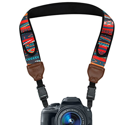 TrueSHOT Camera Strap with Southwest Neoprene Design , Accessory Pockets and Quick Release Buckles by USA Gear – Works With Canon , Fujifilm , Nikon , Sony and More DSLR , Mirrorless , Instant Cameras