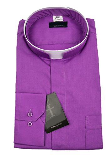 Mens Long Sleeve Roman Collar Clergy Shirt (Church Purple) (17'' Neck 36/37'' Sleeve, Church Purple) by Mercy Robes