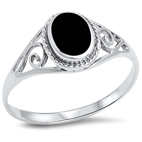 Princess Kylie Synthetic Black Onyx Oval Filigree Band Ring Sterling Silver Size 8