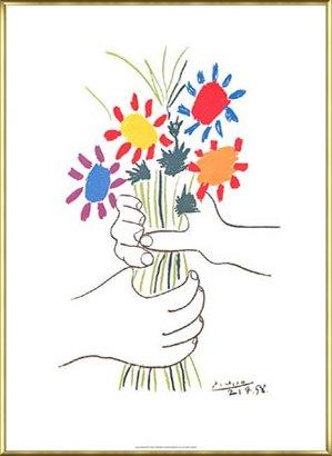 ポスター パブロ ピカソ ブーケ 額装品 アルミ製ベーシックフレーム(ゴールド) B00BG9AUUY ゴールド ゴールド