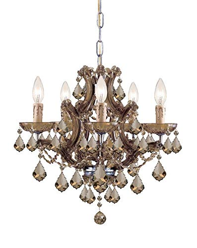 Crystorama 4405-AB-GT-MWP Crystal Five Light Mini Chandeliers from Maria Theresa collection in ()