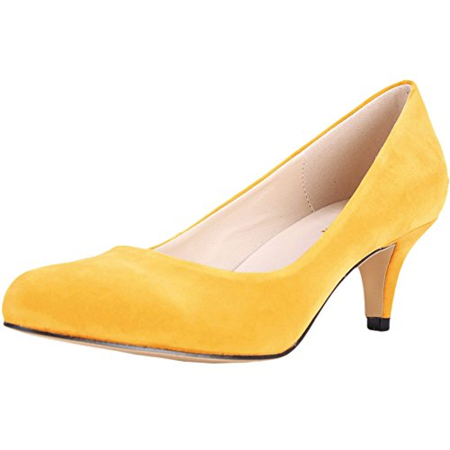 Womens Wedding Shoes All Season Velvet Pointed-Toe Mid Kitten Heel Pumps For Bride Bridesmaid Yellow iYWrv