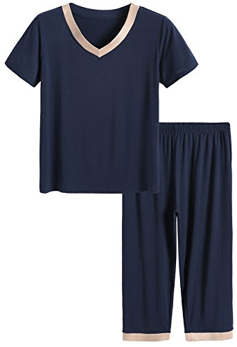 Latuza Women's Sleepwear Tops with Capri Pants PJs 3X Navy (Pajama Set 3x)