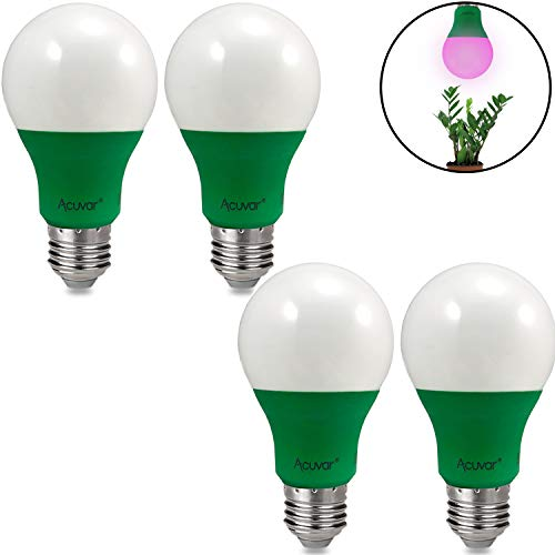 4 Acuvar A19 9W E26 LED Grow Light Bulbs Hydroponic Full Spectrum Enriched Ideal for Budding, Flowering & Vegetative Growth (Best Spectrum For Vegetative Growth)