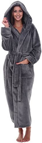 Alexander Del Rossa Women's Plush Fleece Robe with Hood, Warm Bathrobe