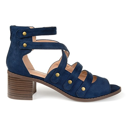(Brinley Co. Womens Aalto Faux Suede Open-Toe Multi-Strap Heeled Sandals Blue, 7.5 Regular US)