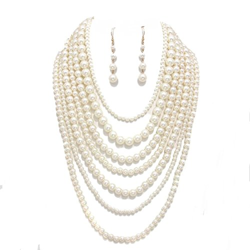 (Realities Simple Statement Beaded Layered Strands Cream Pearl Beads Long Gold Chain Necklace Earrings Set (Cream))