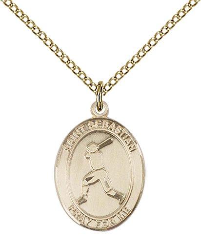 14kt Gold Filled St. Sebastian/Baseball Pendant with 18