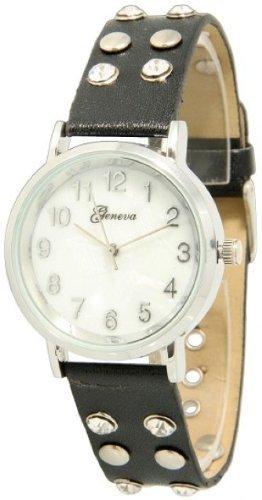 Geneva Women's Double Rhinestone and Stud Snap Band Leather Watch - Black