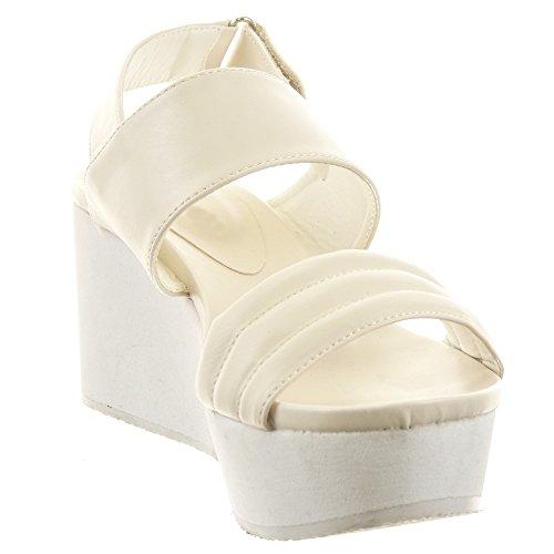 Sopily - Scarpe da Moda sandali scarpe decollete Zeppe alla caviglia donna Lines Tacco zeppa piattaforma 7 CM - Beige