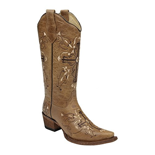 Corral Circle G Women's L5061 Cross Embroidery Brown Snip Toe Western Boots 5.5 M (Corral Boots Women Cross)