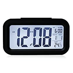 TK-STAR Smart Digital Alarm Clock LCD Screen Display Desk Clock Wake Up Clock with Temperature Calendar Automatically Light Up for Office Home JS501 (black)