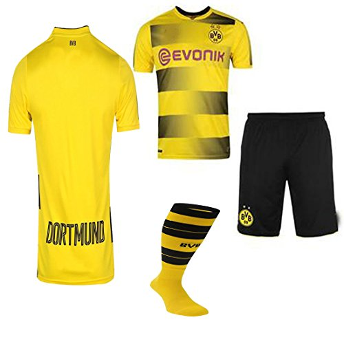 Borussia Dortmund 2017 / 18 17 2018 BvB Kid No Name No Number REPLICA Home Jersey, Short, And Socks(Kid Size 26 (9-10 Years Old) )