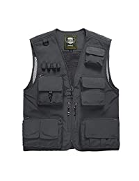 Mens Multi-Pocketed Utility Vest Outdoor Casual Fishing Waistcoats Photography Jacket N7898