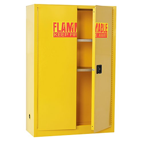 Flammable Liquids Safety Storage - Sandusky Lee SC450F Yellow Steel Safety Cabinet for Flammable Liquids, 2 Shelves, 2 Door Manual Close, 45 Gallon Capacity, 65