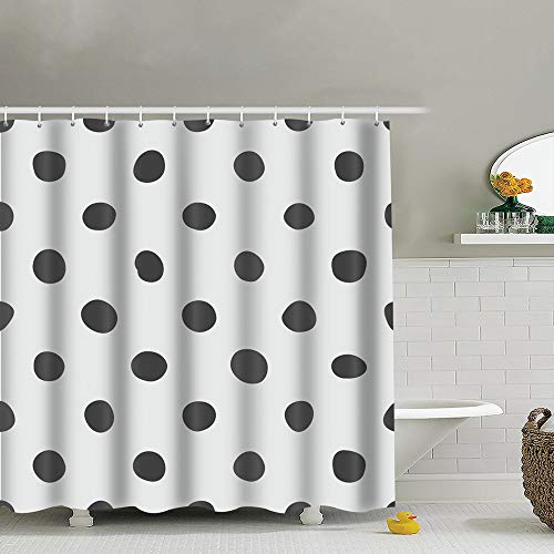 Tile Black Polka Dots Dot Fabric Shower Curtain, Water-Repellent Liner for Master, Guest, Kid's, College Dorm Bathroom 60X72 -