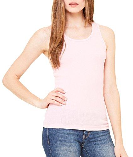 - Bella Ladies' 2x1 Rib 5.8 oz Cotton Tank Top in Pink - X-Large