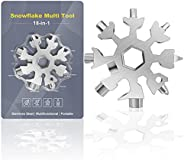 Snowflake Multitool,1PCS Silver 18-in-1 Snowflake Standard Multi Tool, Stainless Steel Snowflake Wrench with K