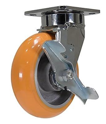 Diameter 6 in Caster 6 X 2 Polyurethane Swivel w//Brake