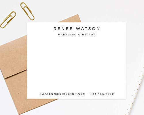 Directors Special Personalized Stationery Note Cards – Set of 12 Flat Cards with Envelopes