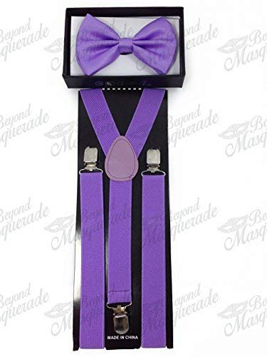 4everStore Unisex Bow Tie & Suspender Sets, Light Purple