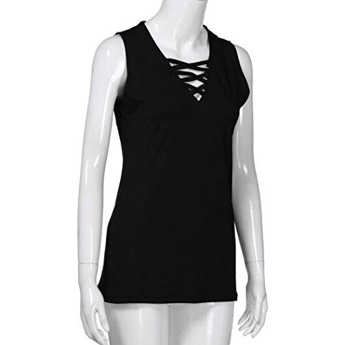 Einzigartige up Sommer Ausschnitt Brustkreuz Schwarz Cami Hemd MRULIC Lace Cross V Damen Criss Tops Sleeveless nYf4wq7a