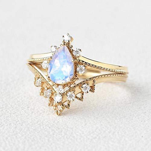 Yellow Gold Anniversary Ring Set  Custom Curved Cz Engagement Ring Set Wedding Ring   Vintage Pear Shaped Blue Moonstone Bridal Set Rose Gold Ring