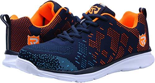 LARNMERN Work Safety Shoes Footwear Steel Toe Shoes Men, Reflective Strip Industrial & Construction Shoe, LM112 (11, Blue/Orange)