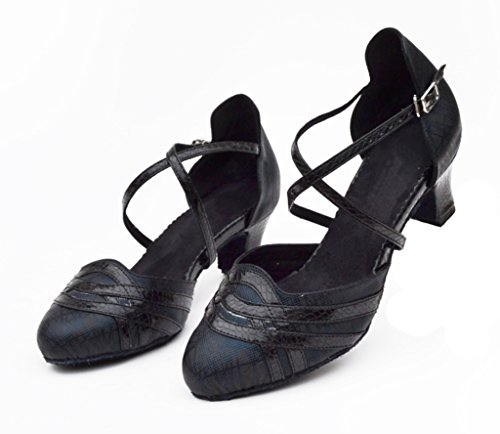 Dance Latin CRC Closure Material Black Womens Professional Morden Stylish Salsa Ballroom PU Tango Wedding Synthetic Shoes Toe Party vZwrvnxAq