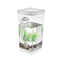 Decdeal Self Cleaning Fish Tank Bowl Convenient Acrylic Desk Aquarium for Office Home Creative Gifts