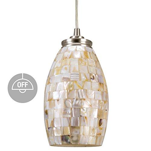 Revel Coast 9″ Contemporary Mini Pendant Light + Hand-Crafted Mosaic Shell Glass, Satin Nickel Finish