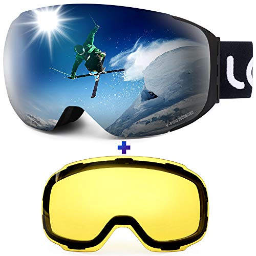 LEMEGO Ski Goggles - Frameless 90S Anti-Fog Interchangeable 2 Lens 100% UV400 Protection 10 Magnetic Double Lens Snow Snowboard Goggles Helmet Compatible for Men & Women & Youth (Lens Double Ski Men Goggles)
