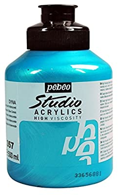 Pebeo Studio Acrylics High Viscosity, Fine Acrylic, 500 ml - Iridescent Blue Green