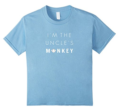 Kids I'm the Uncle's Monkey Shirt, Funny Niece or Nephew Shirt 4 Baby Blue