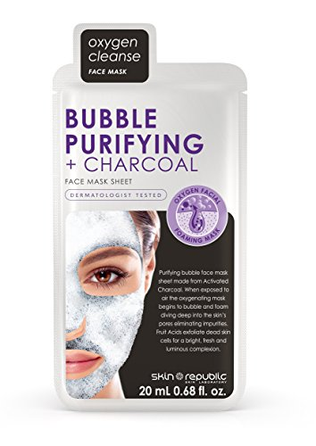 Skin Republic Korean Bubble Purifying + Charcoal Sheet Mask Pack - Includes 4 Masks Individually Packaged - Skin Care Deep Cleansing Serum Activated Charcoal Black Face Mask - 0.68 fl.oz. ()