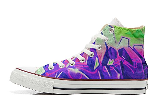 Converse Customized Chaussures Personnalisé et imprimés UNISEX (produit artisanal) avec Graffiti sfumati viola - size EU41