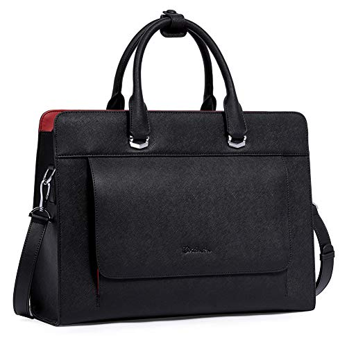 BOSTANTEN Briefcase for Women 15.6 Inch Laptop Leather Slim Business Messenger Bag Shoulder Tote Handbags Black