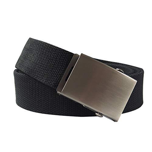 KEYNAT Canvas Webbing Tactical Belt with Metal Military style buckle - Nickel free(Black) by KEYNAT
